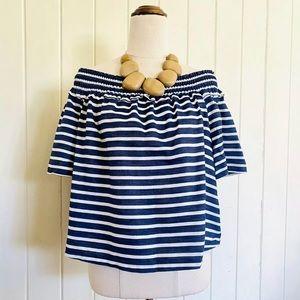🌱PIPER Sz 14 Striped Nautical Peasant Blouse